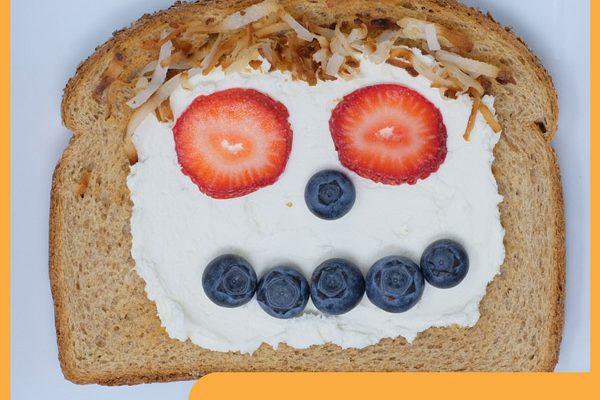 Strawberry Blueberry Smiley Toast