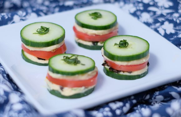 "Vitamin Bee ® Tomato Cucumber Stacked ""Sandwiches"""